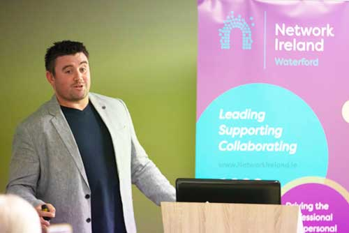 Cian Murphy speaking with the Waterford Division of Network Ireland